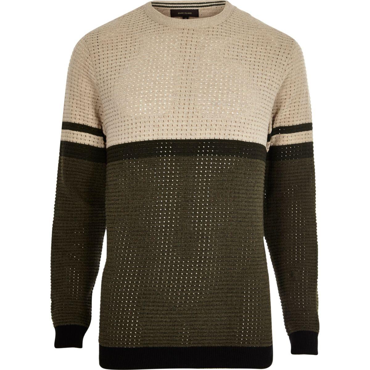 Khaki contrast stripe block slim fit jumper