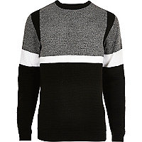 Black contrast stripe block slim fit sweater