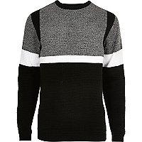 Black contrast stripe block slim fit sweater
