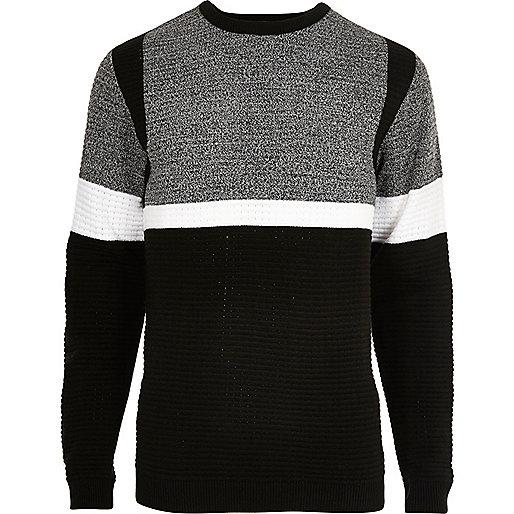 Black contrast stripe block slim fit jumper