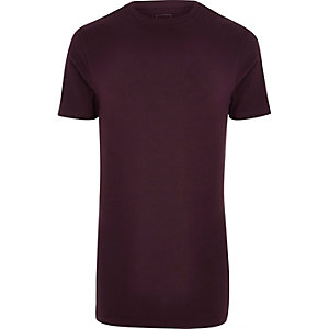 Donkerrood lang aansluitend T-shirt met ronde hals