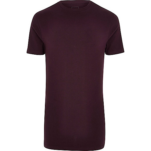 Dark red muscle fit longline crew T-shirt