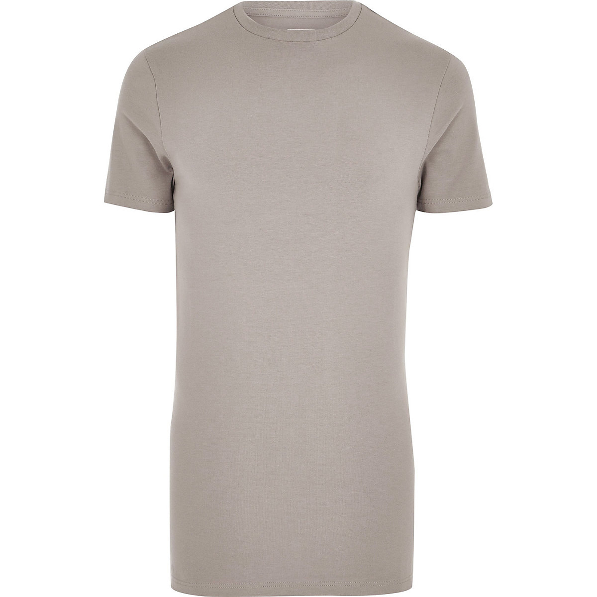Brown muscle fit longline T-shirt