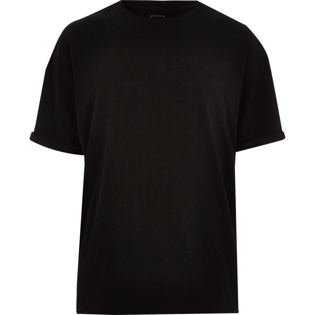 Zwart oversized aansluitend T-shirt met ronde hals
