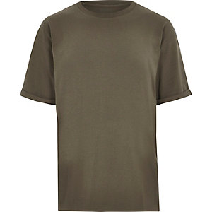 T-shirt oversize vert kaki à col ras du cou