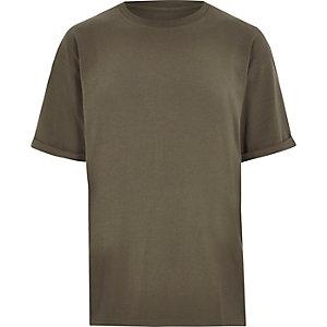 Kaki oversized aansluitend T-shirt met ronde hals