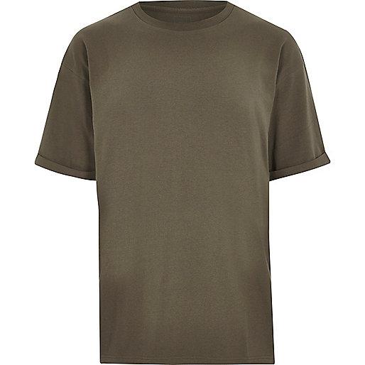 Khaki green oversized fit crew neck T-shirt