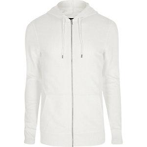Witte aansluitende hoodie met rits