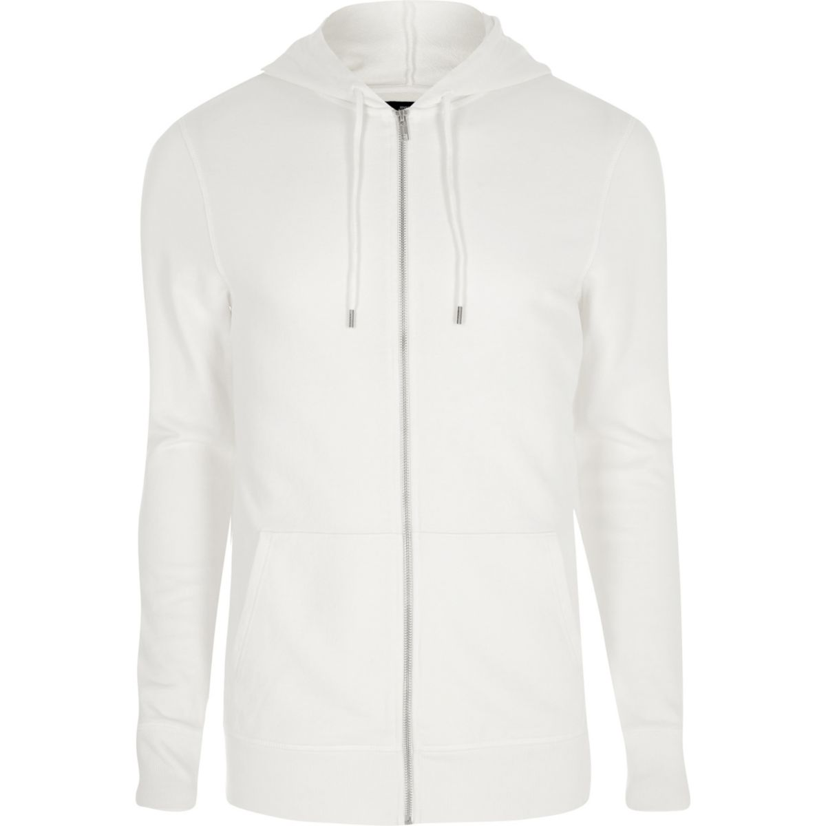 White muscle fit zip up hoodie
