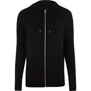 Zwarte aansluitende hoodie met rits