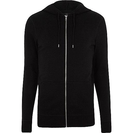 Black muscle fit zip up hoodie