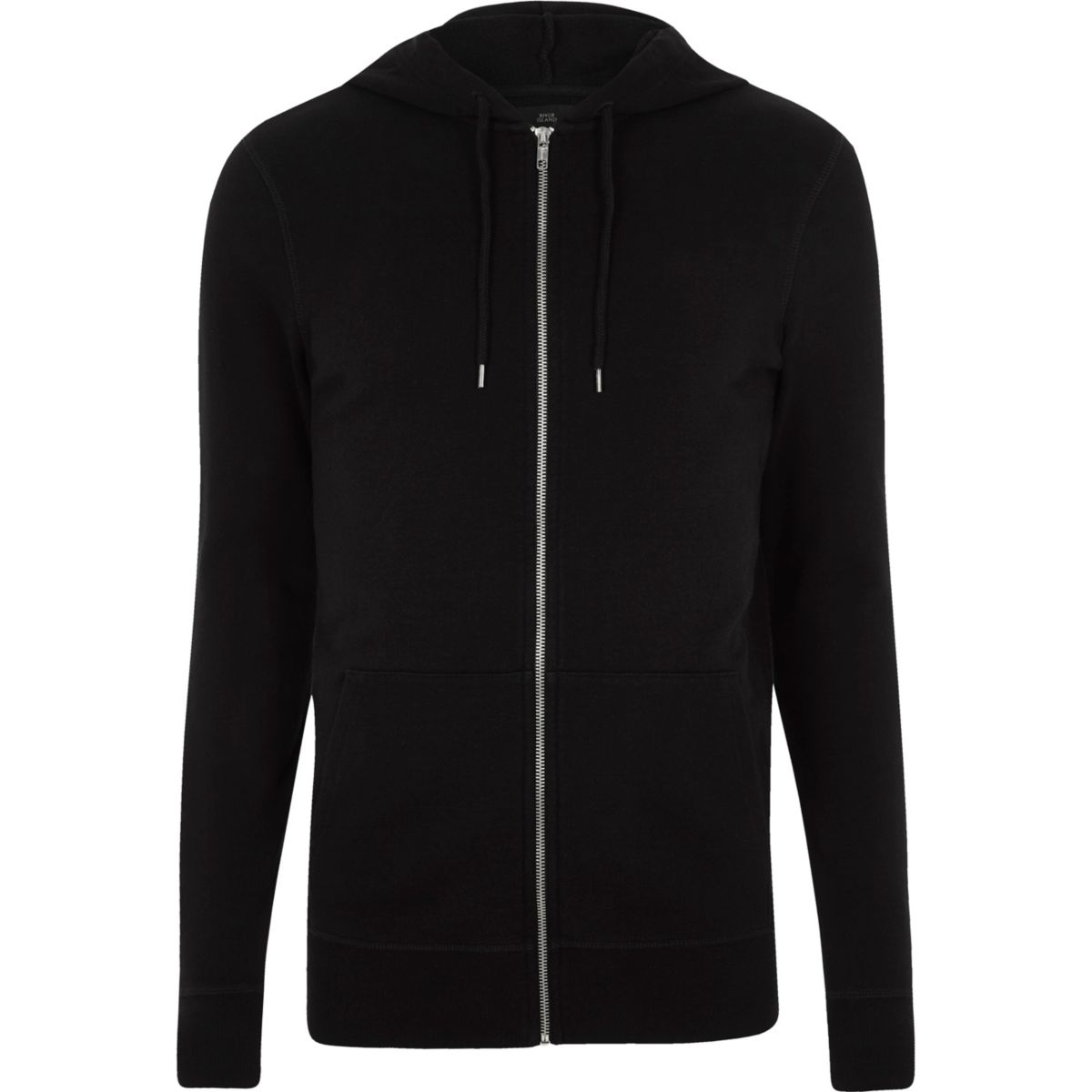 Black muscle fit zip up hoodie