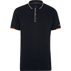 Navy tipped short sleeve slim fit polo shirt