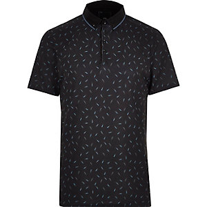 Navy print slim fit polo shirt