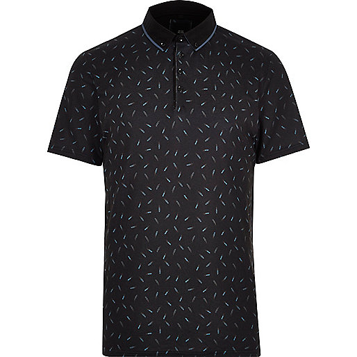 Navy print slim fit polo shirt