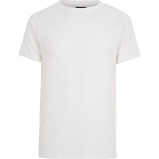 White waffle slim fit raglan T-shirt