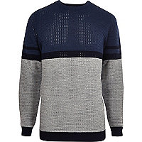 Blue contrast stripe block slim fit sweater