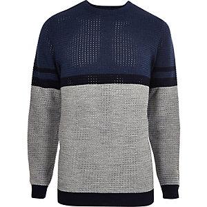 Blauer Slim Fit Pullover mit Streifen
