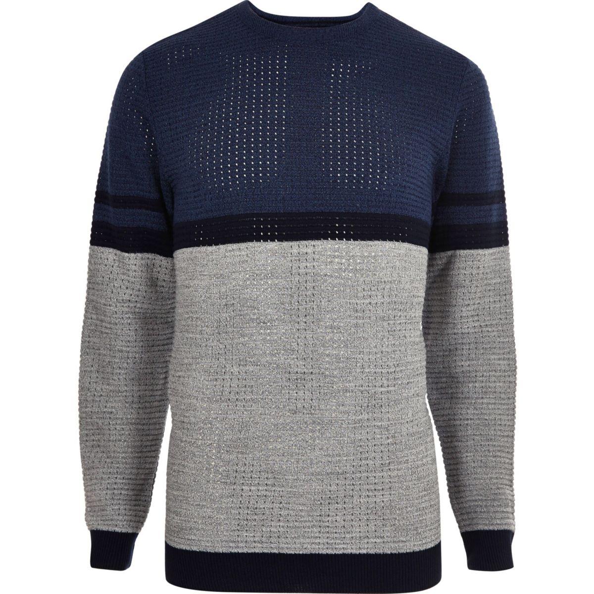 Blue contrast stripe block slim fit sweater