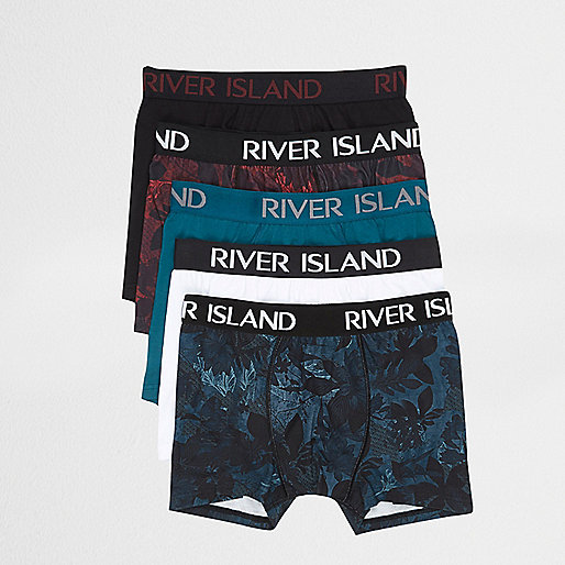 Dark red floral print trunks multipack