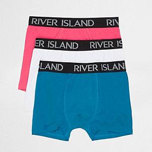 Multipack blauwe, roze en witte strakke boxers