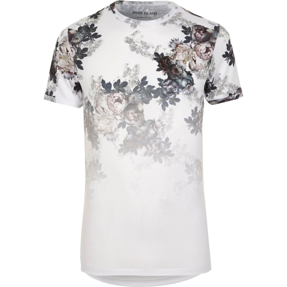 White floral fade print muscle fit T-shirt