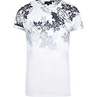 White floral print slim fit T-shirt