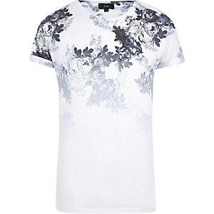 T-shirt slim imprimé fleuri blanc