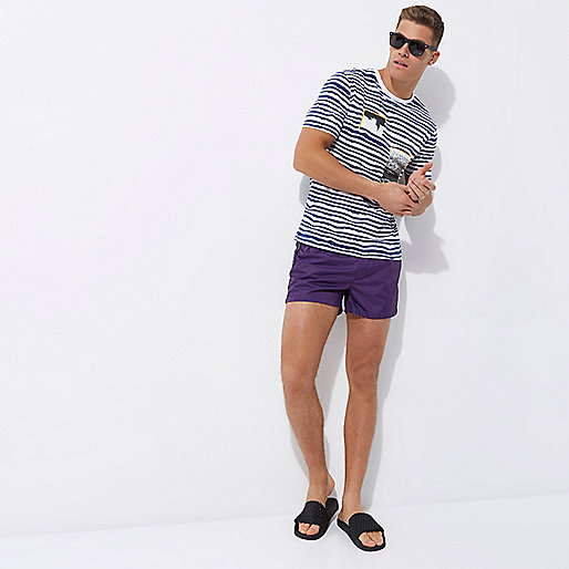 Purple aztect trim swim shorts