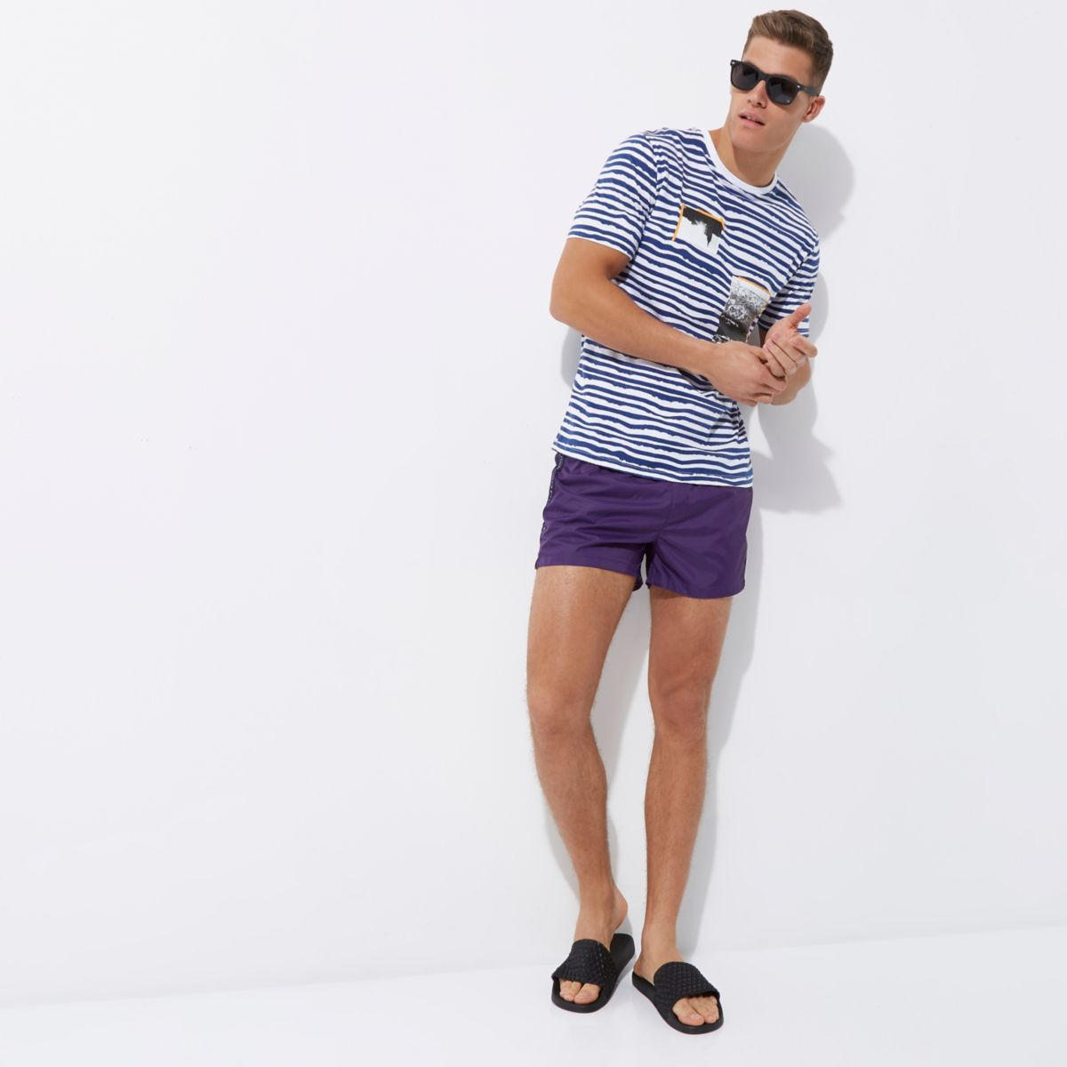Purple aztect trim swim shorts