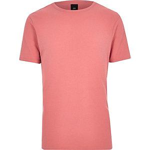 T-shirt slim gaufré corail