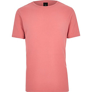 Koraaloranje slim-fit T-shirt met wafeldessin