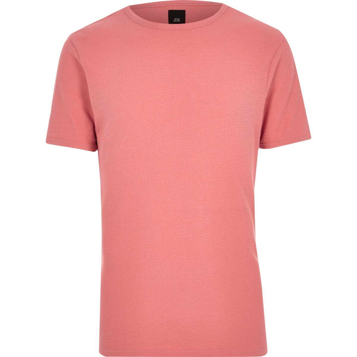 Coral orange waffle slim fit T-shirt