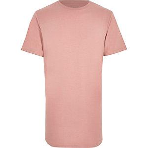 Roze T-shirt met ronde hals en rondlopende zoom
