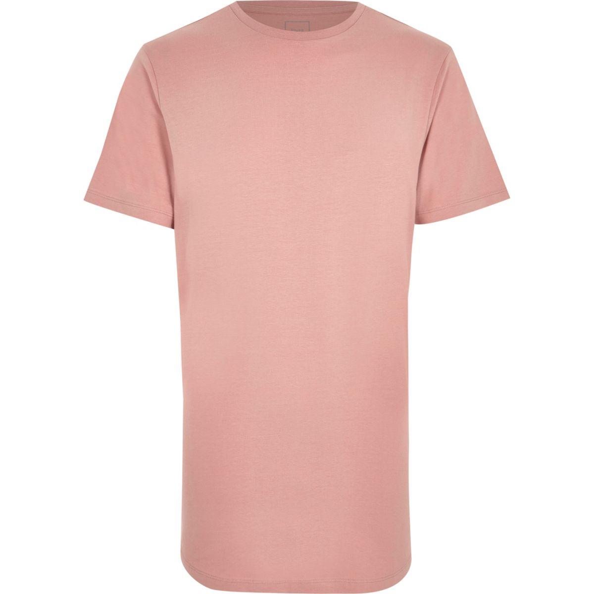 Pink curved hem crew neck T-shirt