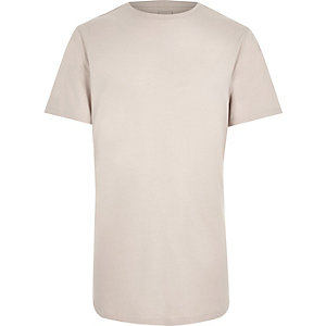Cream slim fit curved hem T-shirt