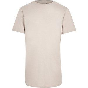 Crème slim-fit T-shirt met ronde zoom