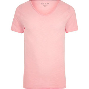 Pinkes Muscle Fit T-Shirt mit U-Ausschnitt