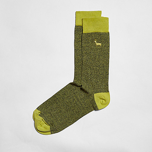 Yellow stag icon socks