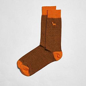 Chaussettes motif cerf orange