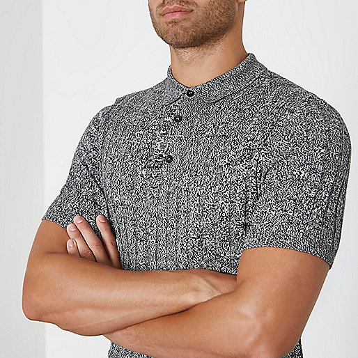Grey knit muscle fit polo shirt