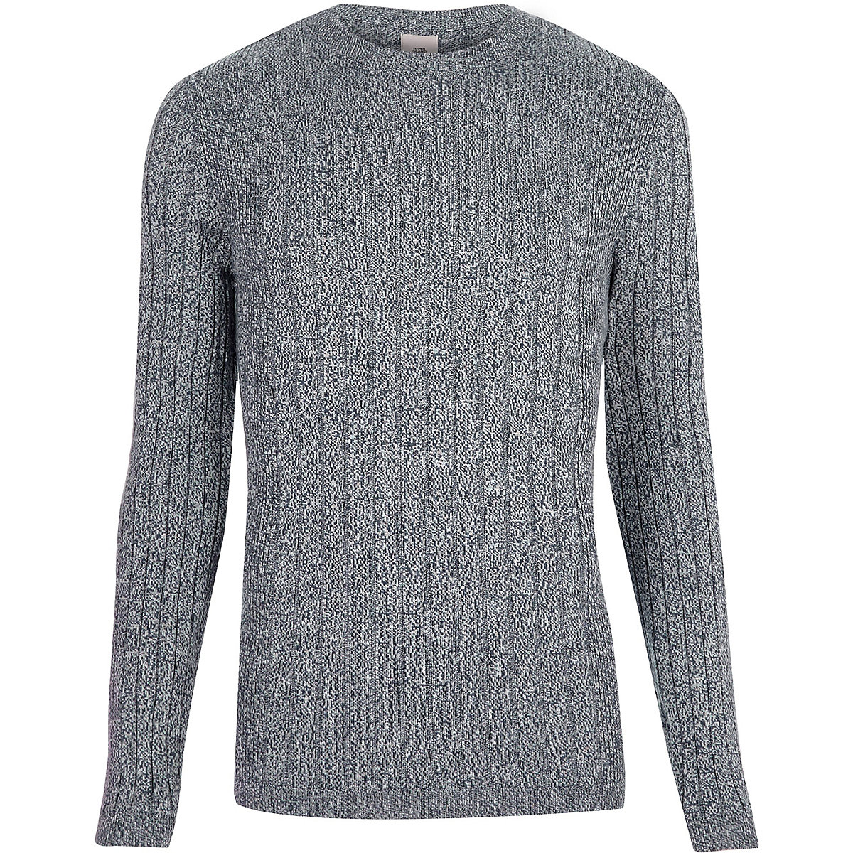 Light blue ribbed muscle fit crew neck jumper