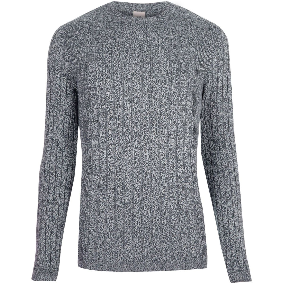 Light blue ribbed muscle fit crew neck sweater