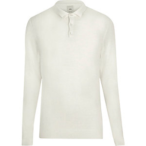 Cream long sleeve knit polo shirt