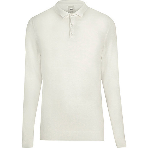Cream knitted long sleeve slim fit polo shirt