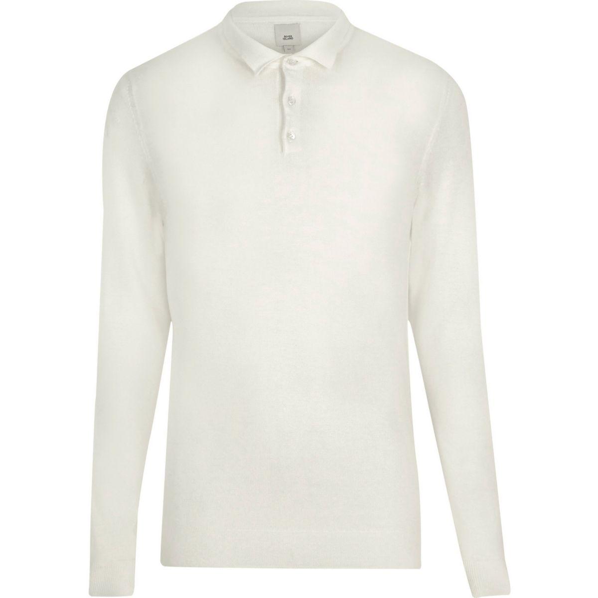 Cream long sleeve knit polo shirt