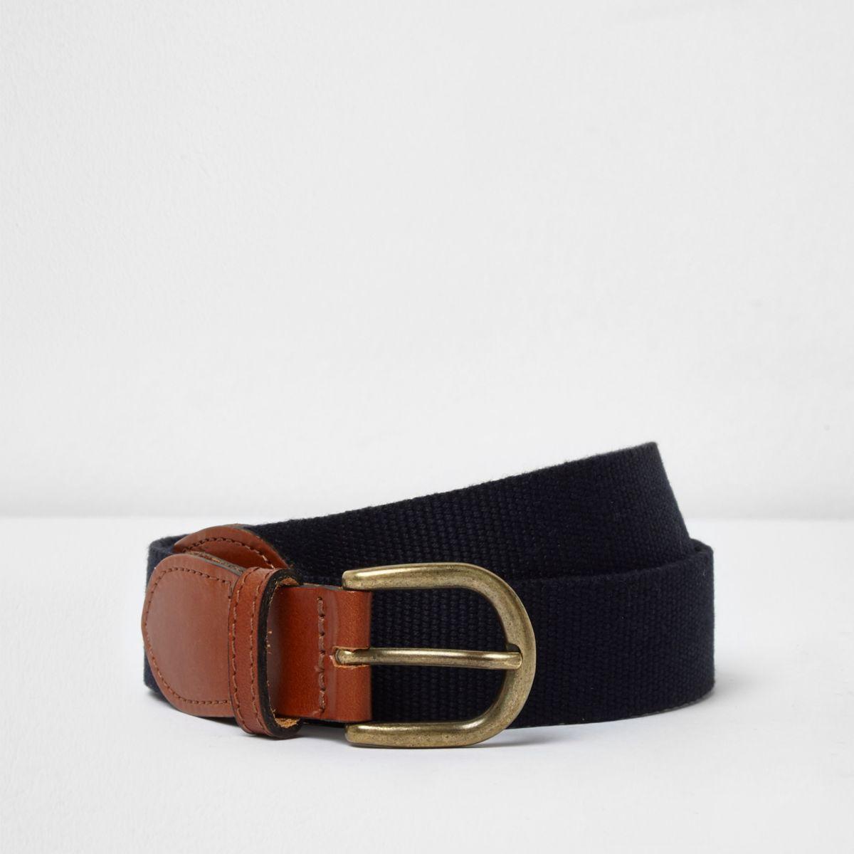 Navy woven tan end belt