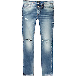 Sid – Jean skinny bleu moyen déchiré aux genoux