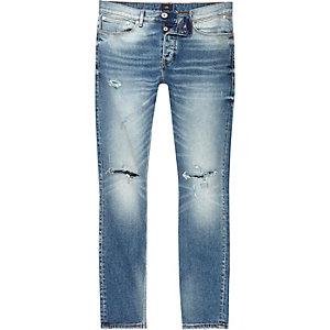 Sid - Middenblauwe skinny jeans met gescheurde knie