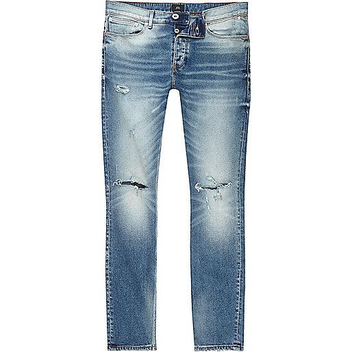 Mid blue Sid ripped knee skinny jeans